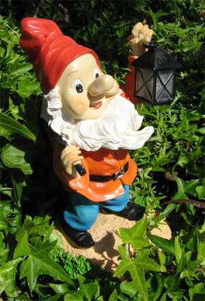 Happy Garden Gnome &amp; Lantern Solar Light. Outdoor LED Preview